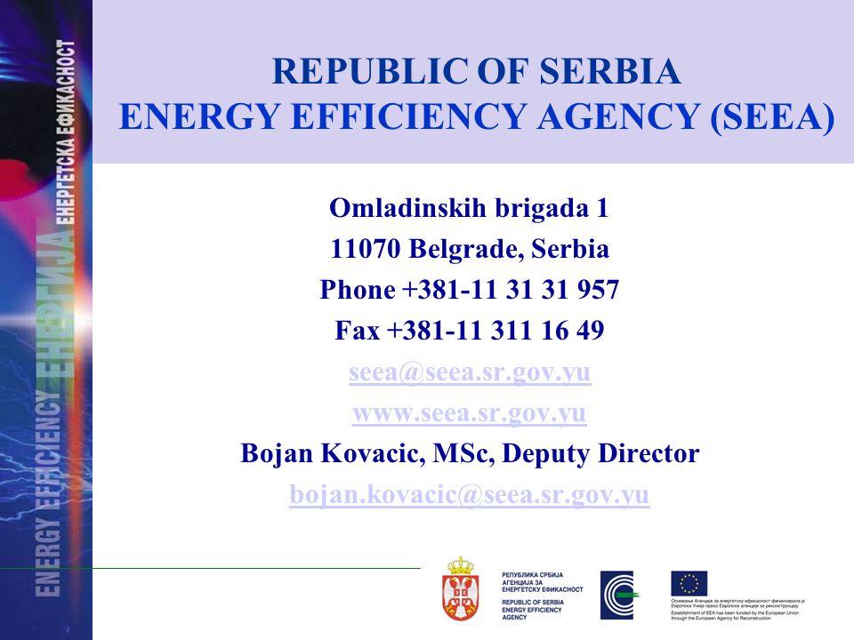 REPUBLIC OF SERBIA ENERGY EFFICIENCY AGENCY (SEEA) Omladinskih brigada 1 11070 Belgrade, Serbia Phone +381-11 31 31 957 Fax +381-11 311 16 49 seea@seea.sr.gov.yu www.seea.sr.gov.yu Bojan Kovacic, MSc, Deputy Director bojan.kovacic@seea.sr.gov.yu