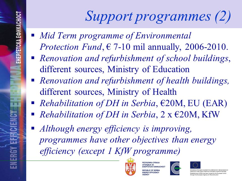 Support programmes (2) Mid Term programme of Environmental Protection Fund, 7-10 mil annually, 2006-2010.