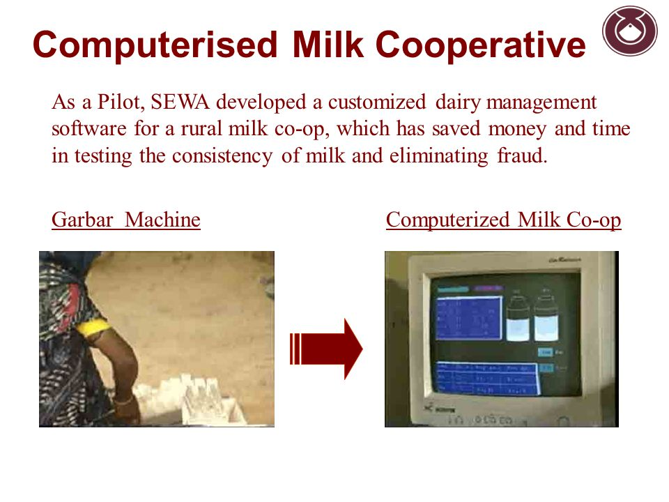 As a Pilot, SEWA developed a customized dairy management software for a rural milk co-op, which has saved money and time in testing the consistency of milk and eliminating fraud.