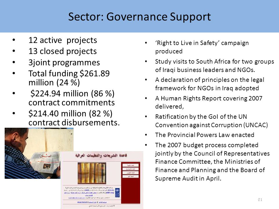 Sector: Governance Right to Live in Safety campaign produced Study visits to South Africa for two groups of Iraqi business leaders and NGOs.