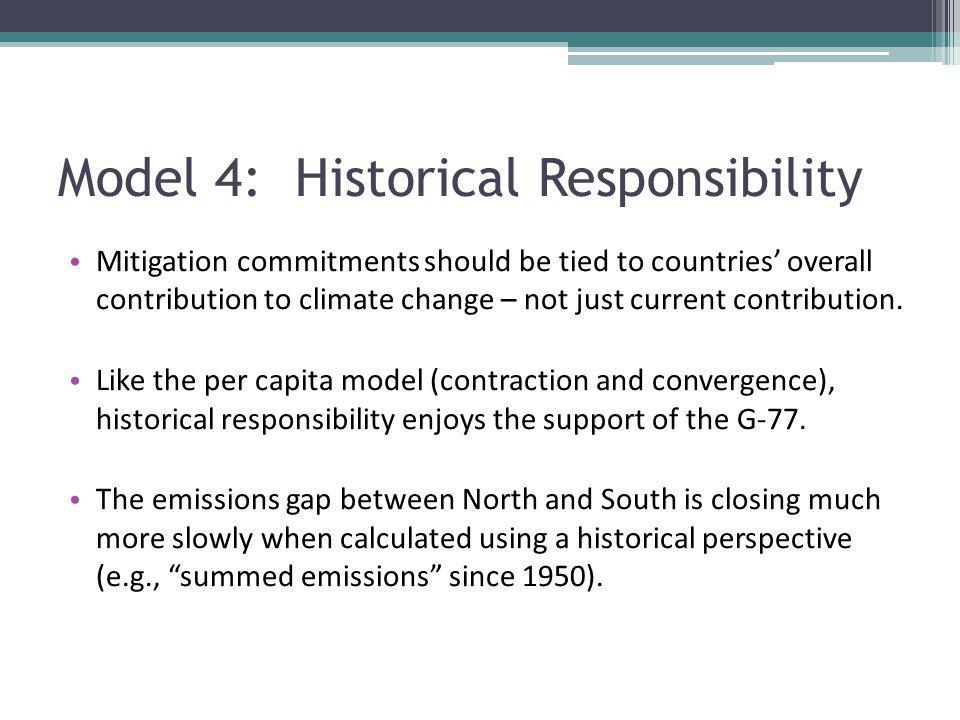Model 4: Historical Responsibility Mitigation commitments should be tied to countries overall contribution to climate change – not just current contri