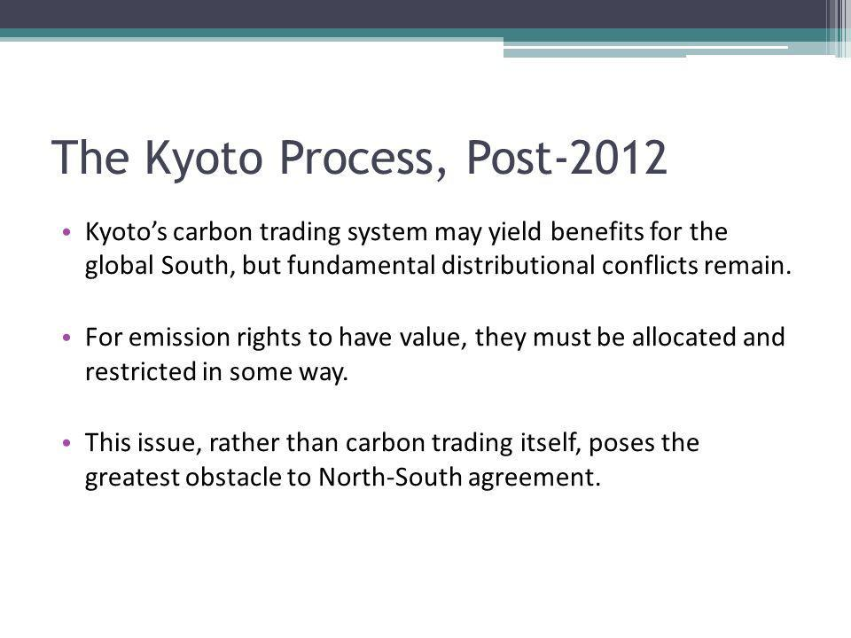 The Kyoto Process, Post-2012 Kyotos carbon trading system may yield benefits for the global South, but fundamental distributional conflicts remain. Fo