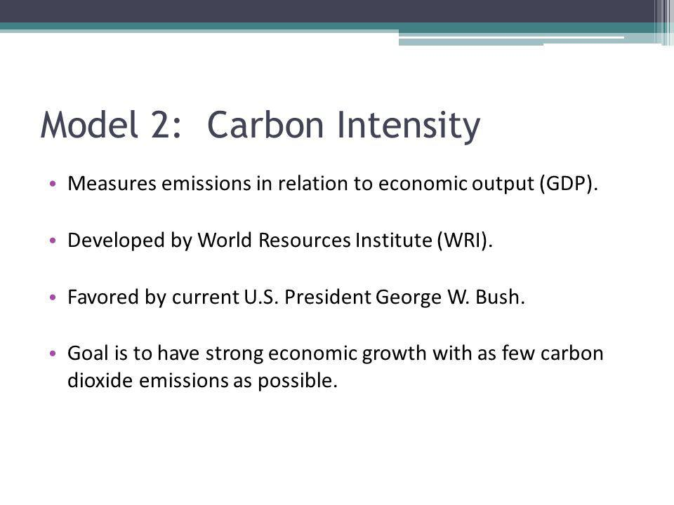 Model 2: Carbon Intensity Measures emissions in relation to economic output (GDP). Developed by World Resources Institute (WRI). Favored by current U.