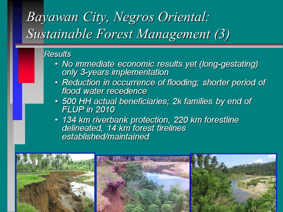 17 Bayawan City, Negros Oriental: Sustainable Forest Management (3) Results Results No immediate economic results yet (long-gestating) only 3-years implementationNo immediate economic results yet (long-gestating) only 3-years implementation Reduction in occurrence of flooding; shorter period of flood water recedenceReduction in occurrence of flooding; shorter period of flood water recedence 500 HH actual beneficiaries; 2k families by end of FLUP in 2010500 HH actual beneficiaries; 2k families by end of FLUP in 2010 134 km riverbank protection, 220 km forestline delineated, 14 km forest firelines established/maintained134 km riverbank protection, 220 km forestline delineated, 14 km forest firelines established/maintained