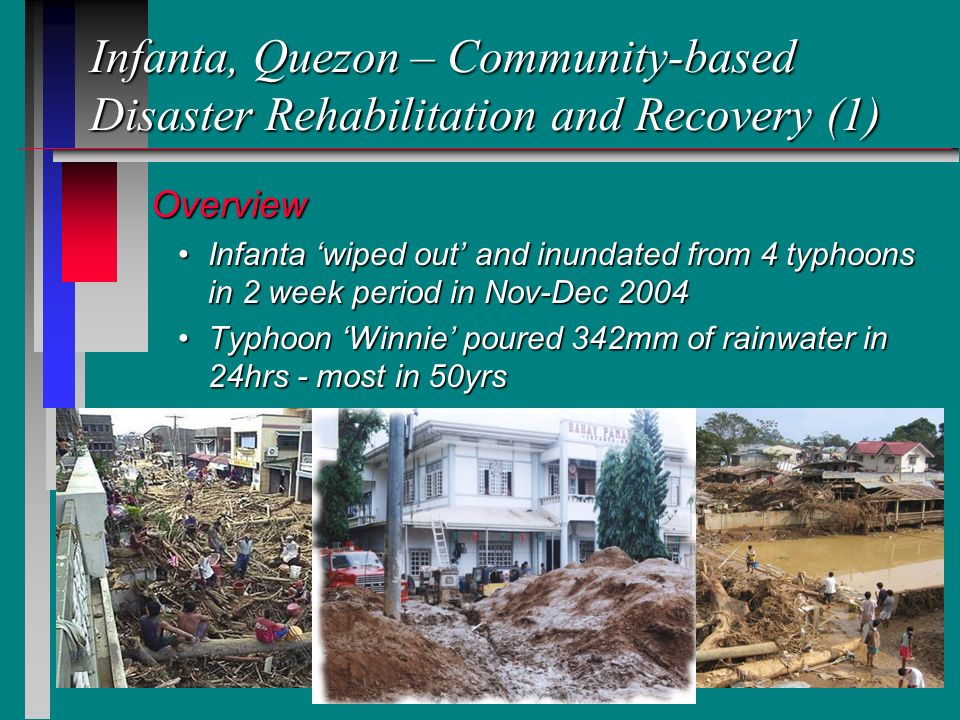8 Infanta, Quezon – Community-based Disaster Rehabilitation and Recovery (1) Overview Overview Infanta wiped out and inundated from 4 typhoons in 2 week period in Nov-Dec 2004Infanta wiped out and inundated from 4 typhoons in 2 week period in Nov-Dec 2004 Typhoon Winnie poured 342mm of rainwater in 24hrs - most in 50yrsTyphoon Winnie poured 342mm of rainwater in 24hrs - most in 50yrs