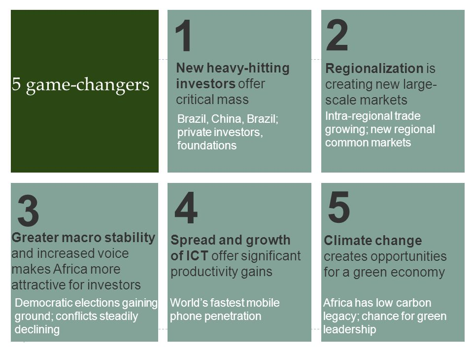 5 game-changers New heavy-hitting investors offer critical mass Brazil, China, Brazil; private investors, foundations 1 2 Regionalization is creating new large- scale markets Intra-regional trade growing; new regional common markets Greater macro stability and increased voice makes Africa more attractive for investors Democratic elections gaining ground; conflicts steadily declining 3 Spread and growth of ICT offer significant productivity gains Worlds fastest mobile phone penetration 4 Climate change creates opportunities for a green economy Africa has low carbon legacy; chance for green leadership 5