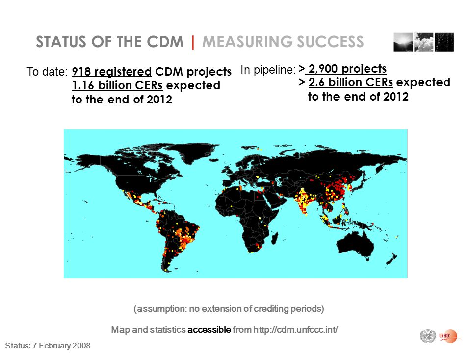 918 registered CDM projects 1.16 billion CERs expected to the end of 2012 (assumption: no extension of crediting periods) STATUS OF THE CDM | MEASURING SUCCESS Map and statistics accessible from   Status: 7 February 2008 To date: > 2,900 projects > 2.6 billion CERs expected to the end of 2012 In pipeline: