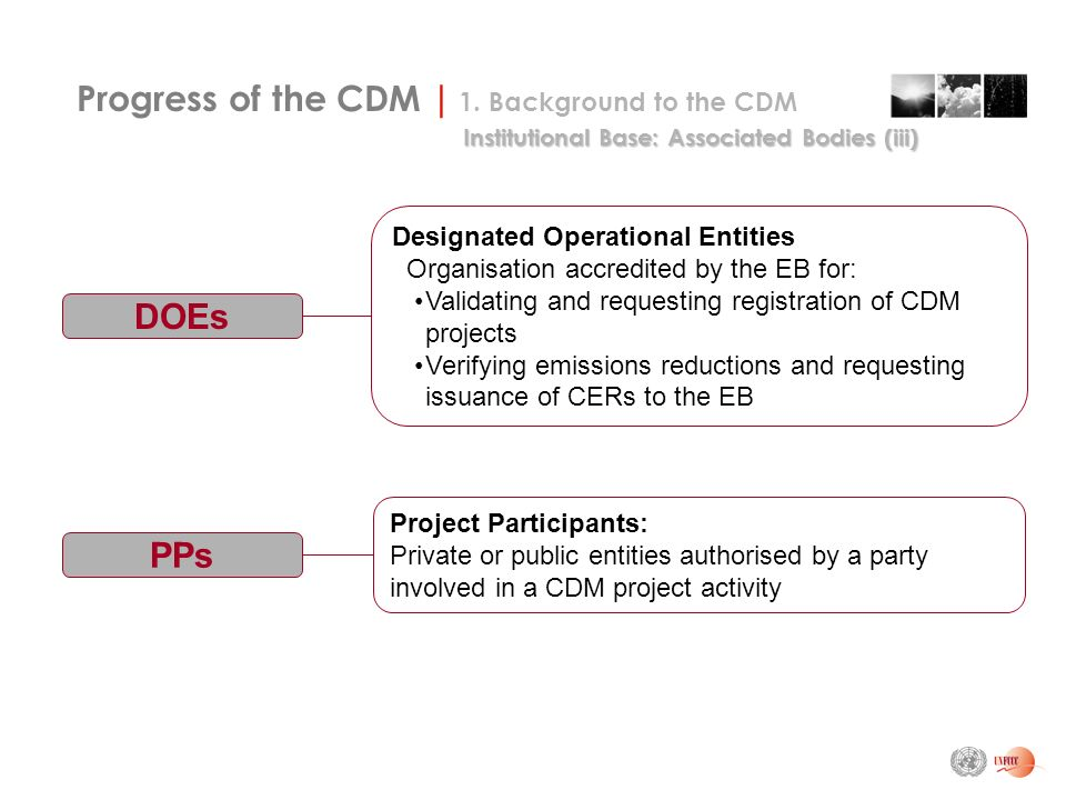 DOEs Designated Operational Entities Organisation accredited by the EB for: Validating and requesting registration of CDM projects Verifying emissions reductions and requesting issuance of CERs to the EB Progress of the CDM | 1.