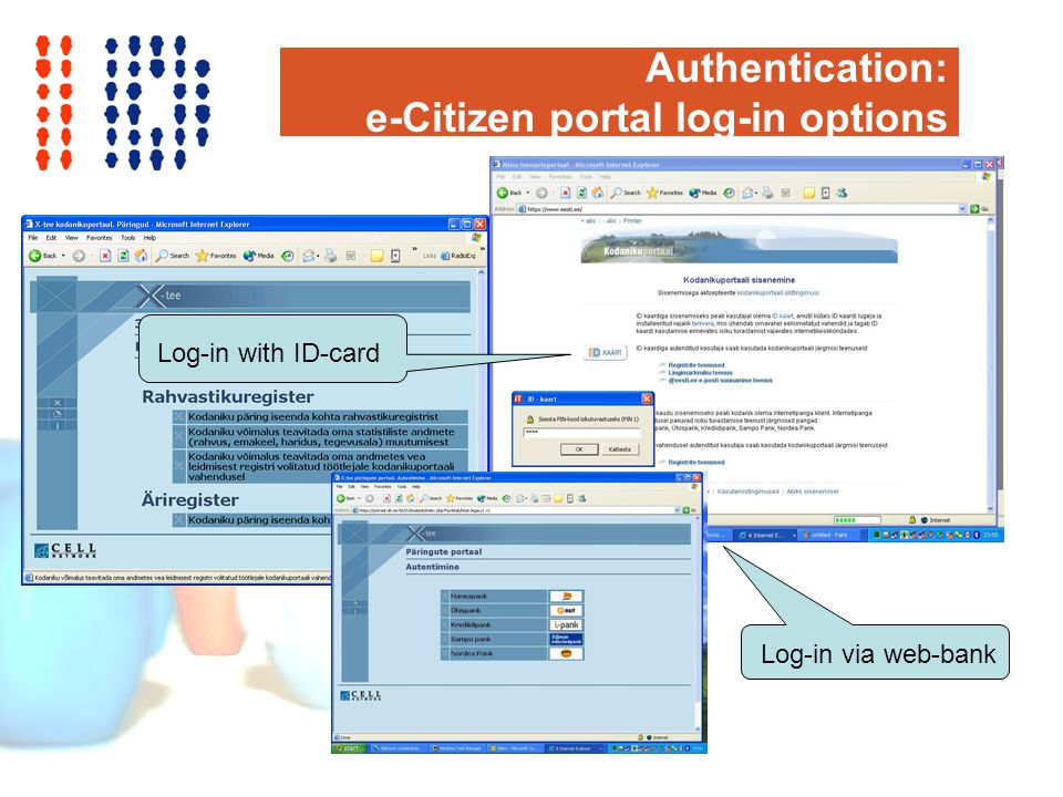 Authentication: e-Citizen portal log-in options Log-in with ID-card Log-in via web-bank