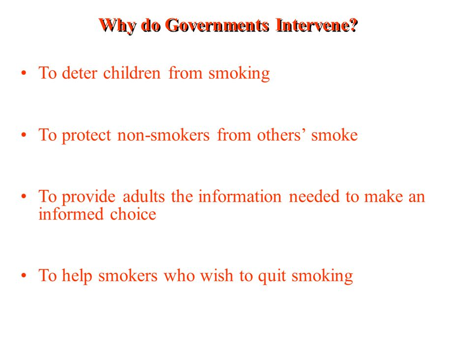 Why do Governments Intervene.