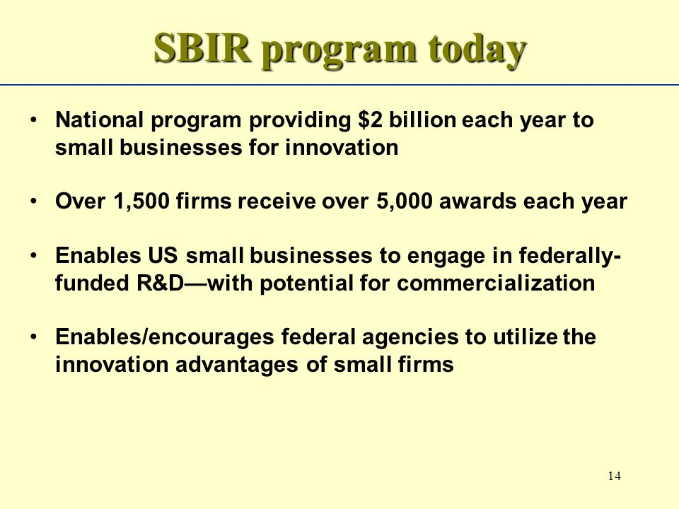 14 SBIR program today National program providing $2 billion each year to small businesses for innovation Over 1,500 firms receive over 5,000 awards each year Enables US small businesses to engage in federally- funded R&Dwith potential for commercialization Enables/encourages federal agencies to utilize the innovation advantages of small firms