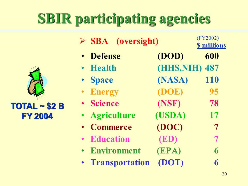 20 Defense (DOD)600 Health (HHS,NIH)487 Space (NASA)110 Energy (DOE) 95 Science (NSF) 78 Agriculture (USDA) 17 Commerce (DOC) 7 Education (ED) 7 Environment (EPA) 6 Transportation (DOT) 6 SBIR participating agencies TOTAL ~ $2 B FY 2004 (FY2002) $ millions SBA (oversight)
