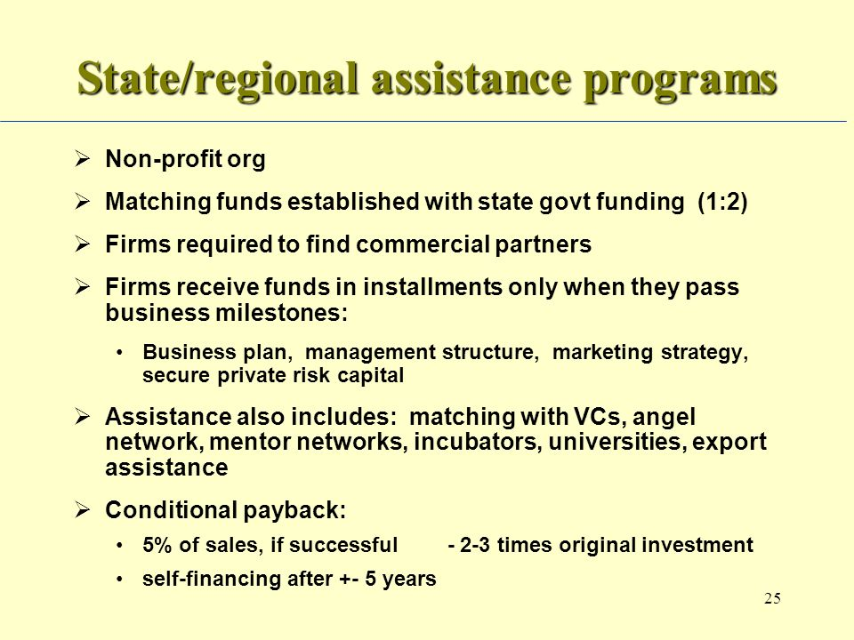 25 State/regional assistance programs Non-profit org Matching funds established with state govt funding (1:2) Firms required to find commercial partners Firms receive funds in installments only when they pass business milestones: Business plan, management structure, marketing strategy, secure private risk capital Assistance also includes: matching with VCs, angel network, mentor networks, incubators, universities, export assistance Conditional payback: 5% of sales, if successful - 2-3 times original investment self-financing after +- 5 years
