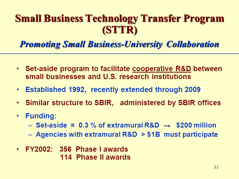 31 Small Business Technology Transfer Program (STTR) Promoting Small Business-University Collaboration Set-aside program to facilitate cooperative R&D