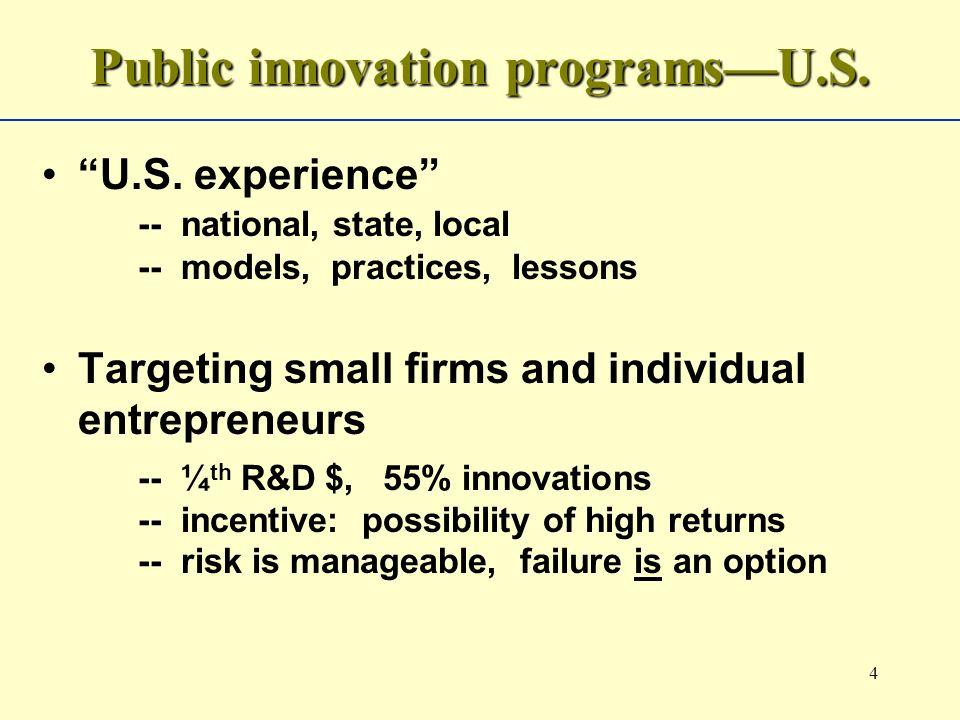 4 Public innovation programsU.S. U.S.