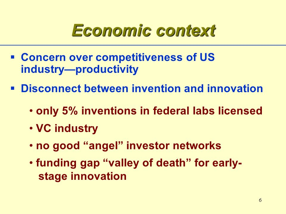 6 Concern over competitiveness of US industryproductivity Disconnect between invention and innovation Economic context only 5% inventions in federal labs licensed VC industry no good angel investor networks funding gap valley of death for early- stage innovation