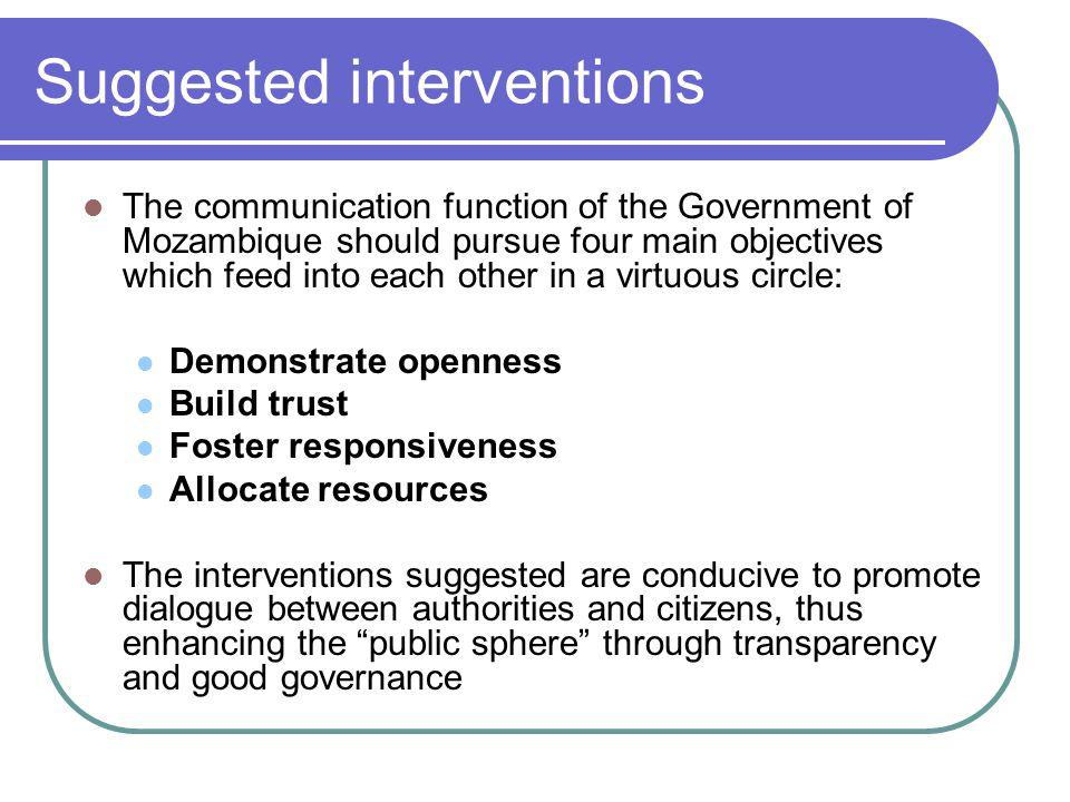 Suggested interventions The communication function of the Government of Mozambique should pursue four main objectives which feed into each other in a virtuous circle: Demonstrate openness Build trust Foster responsiveness Allocate resources The interventions suggested are conducive to promote dialogue between authorities and citizens, thus enhancing the public sphere through transparency and good governance