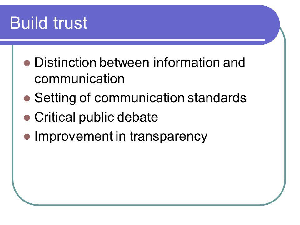 Build trust Distinction between information and communication Setting of communication standards Critical public debate Improvement in transparency
