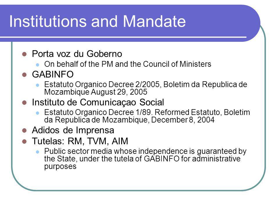 Institutions and Mandate Porta voz du Goberno On behalf of the PM and the Council of Ministers GABINFO Estatuto Organico Decree 2/2005, Boletim da Rep