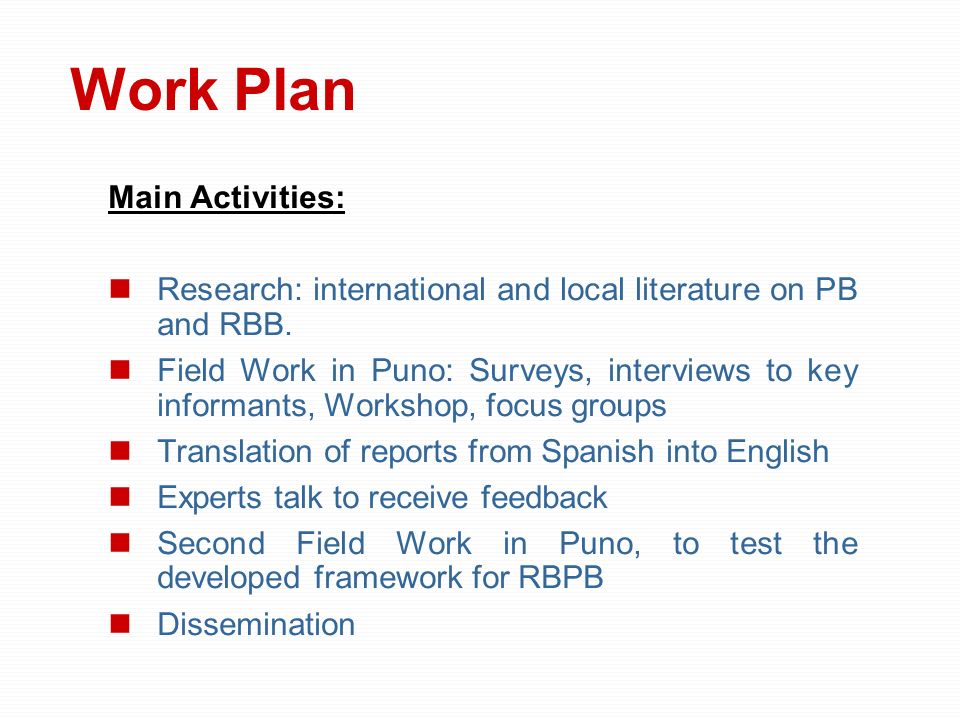 Work Plan Main Activities: Research: international and local literature on PB and RBB. Field Work in Puno: Surveys, interviews to key informants, Work