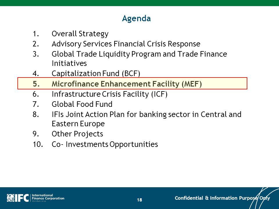 18 Agenda 1.Overall Strategy 2.Advisory Services Financial Crisis Response 3.Global Trade Liquidity Program and Trade Finance Initiatives 4.Capitaliza