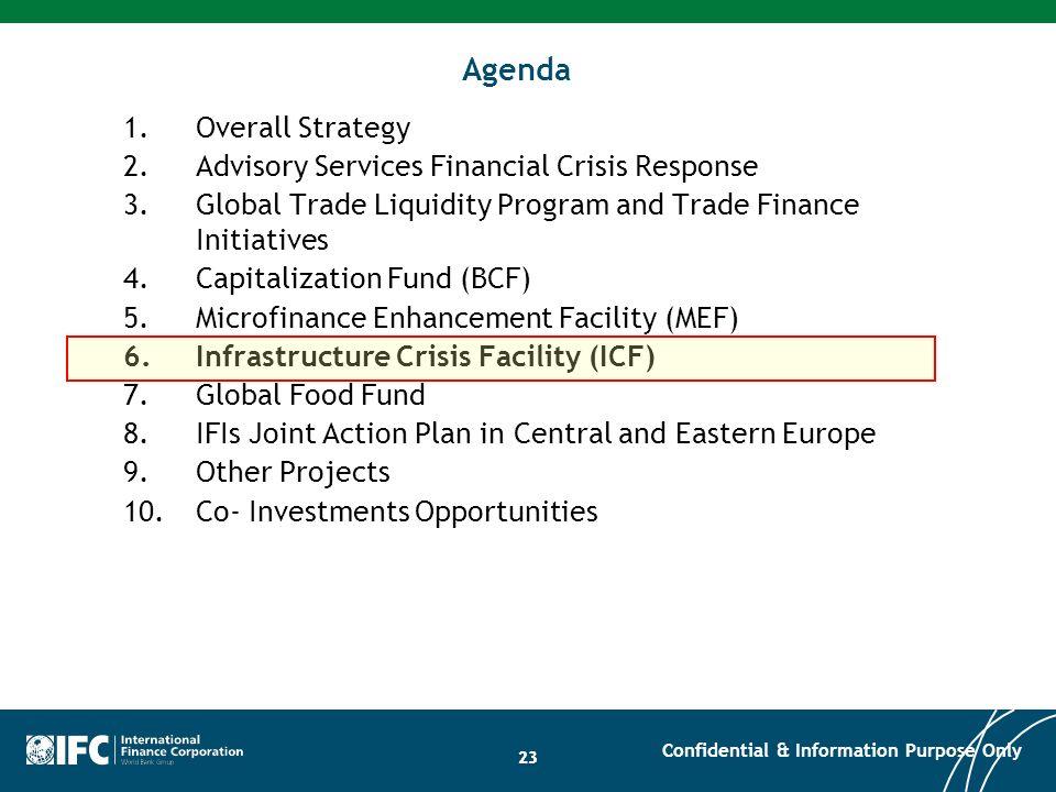 23 Agenda 1.Overall Strategy 2.Advisory Services Financial Crisis Response 3.Global Trade Liquidity Program and Trade Finance Initiatives 4.Capitaliza