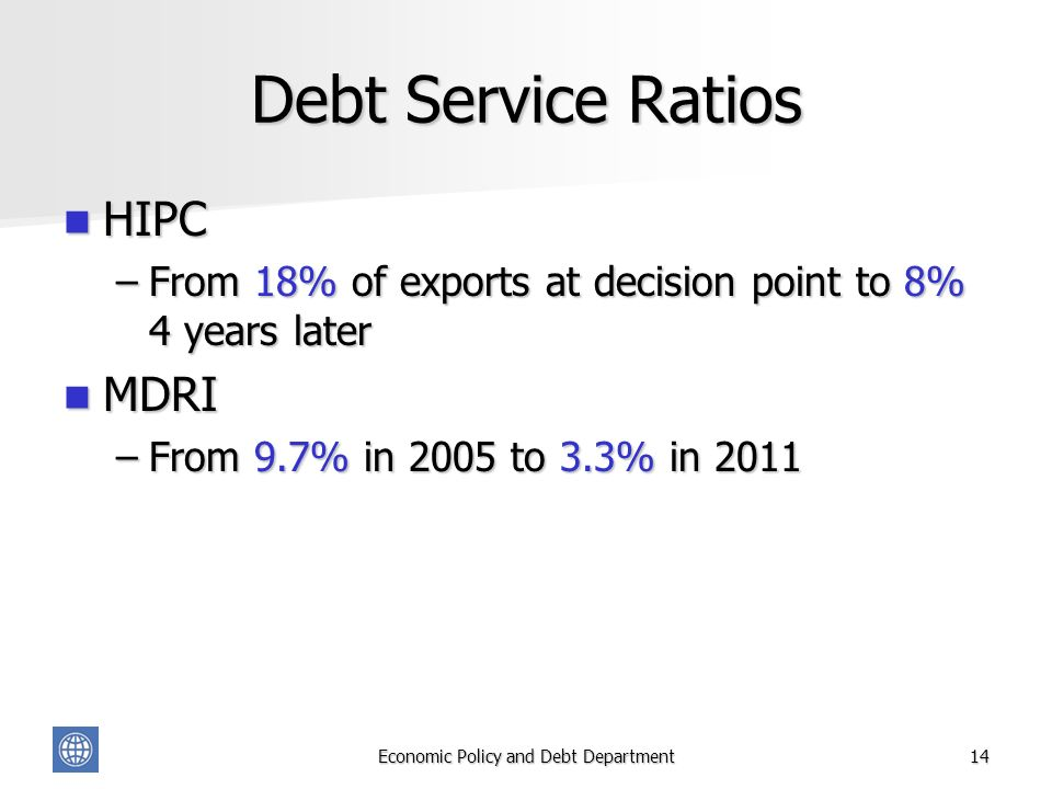 Economic Policy and Debt Department14 Debt Service Ratios HIPC HIPC –From 18% of exports at decision point to 8% 4 years later MDRI MDRI –From 9.7% in