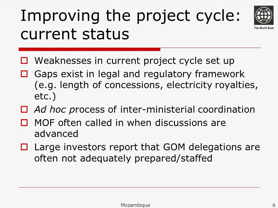 Improving the project cycle: current status Weaknesses in current project cycle set up Gaps exist in legal and regulatory framework (e.g. length of co