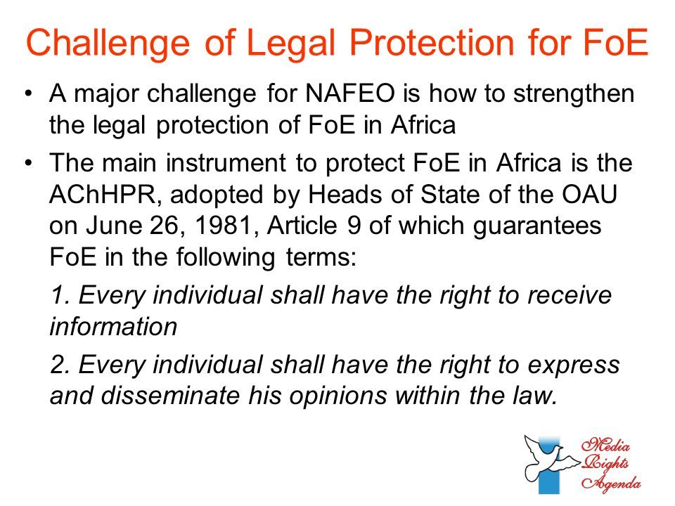Challenge of Legal Protection for FoE A major challenge for NAFEO is how to strengthen the legal protection of FoE in Africa The main instrument to protect FoE in Africa is the AChHPR, adopted by Heads of State of the OAU on June 26, 1981, Article 9 of which guarantees FoE in the following terms: 1.
