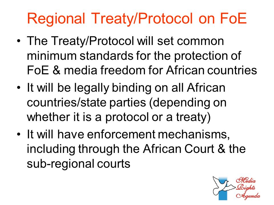 Regional Treaty/Protocol on FoE The Treaty/Protocol will set common minimum standards for the protection of FoE & media freedom for African countries It will be legally binding on all African countries/state parties (depending on whether it is a protocol or a treaty) It will have enforcement mechanisms, including through the African Court & the sub-regional courts