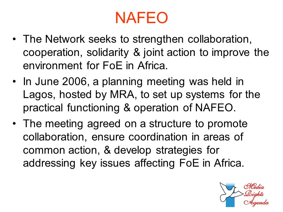 NAFEO The Network seeks to strengthen collaboration, cooperation, solidarity & joint action to improve the environment for FoE in Africa.