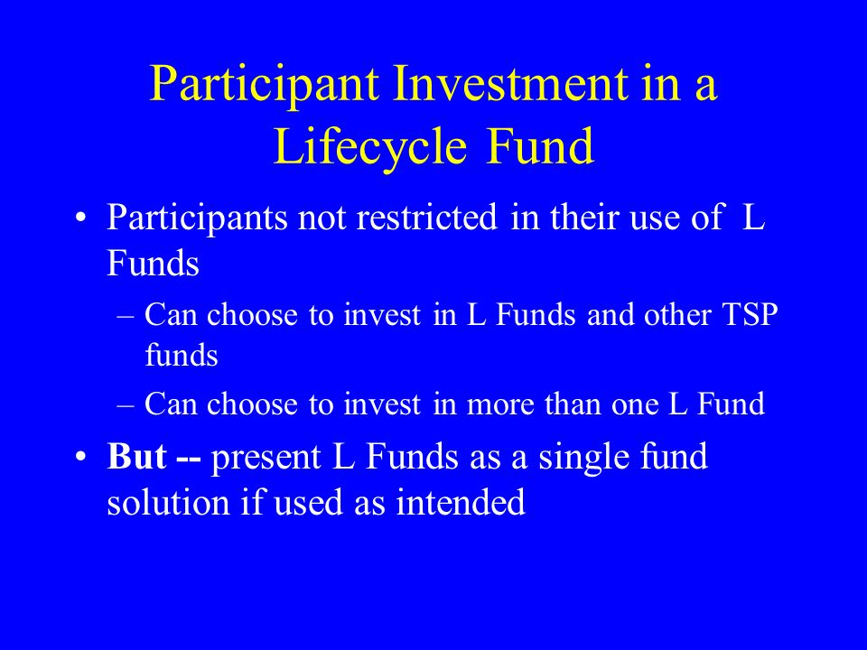 Participant Investment in a Lifecycle Fund Participants not restricted in their use of L Funds –Can choose to invest in L Funds and other TSP funds –Can choose to invest in more than one L Fund But -- present L Funds as a single fund solution if used as intended