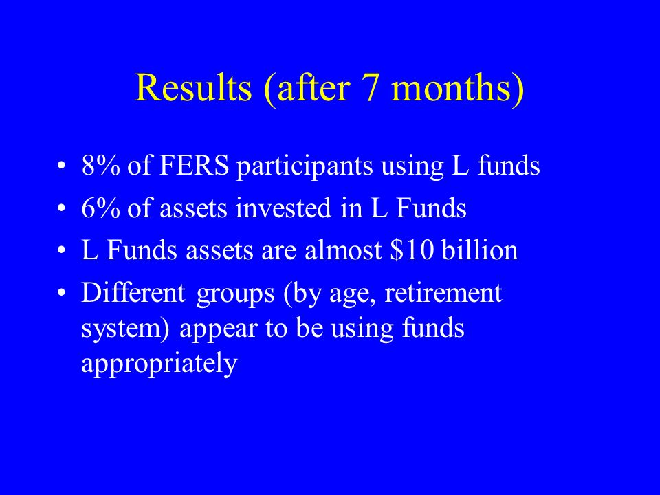 Results (after 7 months) 8% of FERS participants using L funds 6% of assets invested in L Funds L Funds assets are almost $10 billion Different groups (by age, retirement system) appear to be using funds appropriately