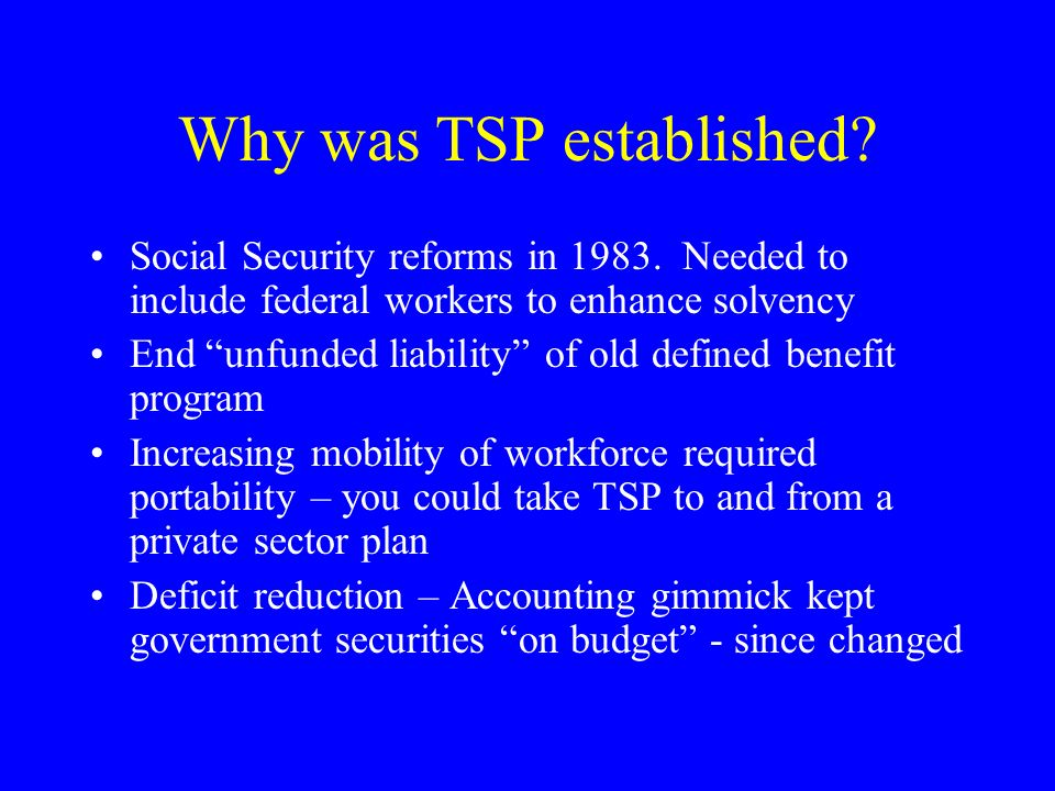 Why was TSP established. Social Security reforms in 1983.