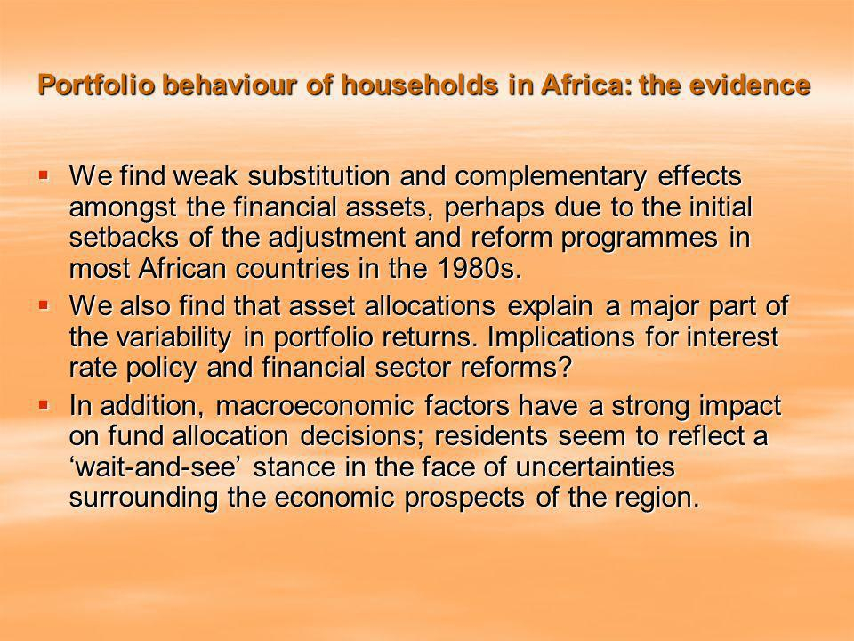 Portfolio behaviour of households in Africa: the evidence We find weak substitution and complementary effects amongst the financial assets, perhaps due to the initial setbacks of the adjustment and reform programmes in most African countries in the 1980s.