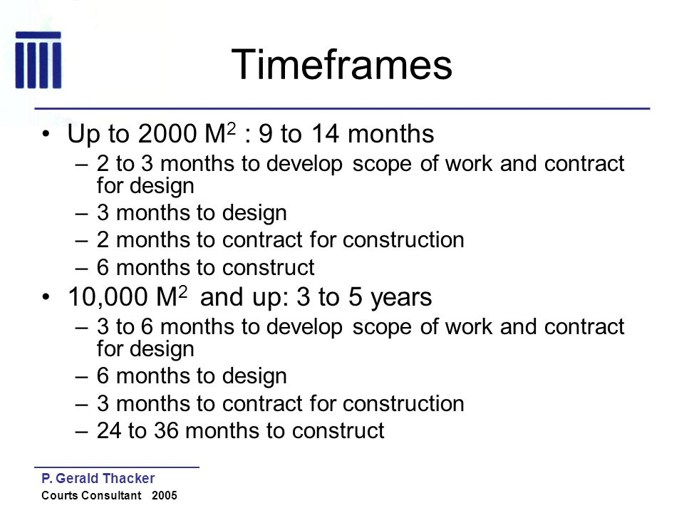 P. Gerald Thacker Courts Consultant 2005 Timeframes Up to 2000 M 2 : 9 to 14 months –2 to 3 months to develop scope of work and contract for design –3