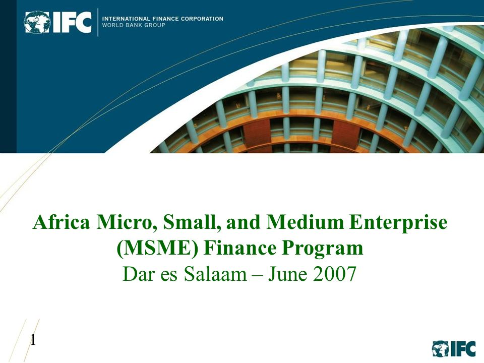 1 Africa Micro, Small, and Medium Enterprise (MSME) Finance Program Dar es Salaam – June 2007
