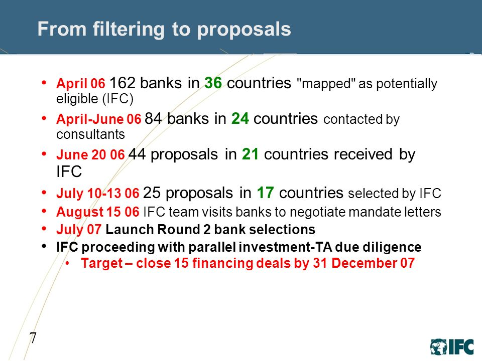 7 From filtering to proposals April banks in 36 countries mapped as potentially eligible (IFC) April-June banks in 24 countries contacted by consultants June proposals in 21 countries received by IFC July proposals in 17 countries selected by IFC August IFC team visits banks to negotiate mandate letters July 07 Launch Round 2 bank selections IFC proceeding with parallel investment-TA due diligence Target – close 15 financing deals by 31 December 07