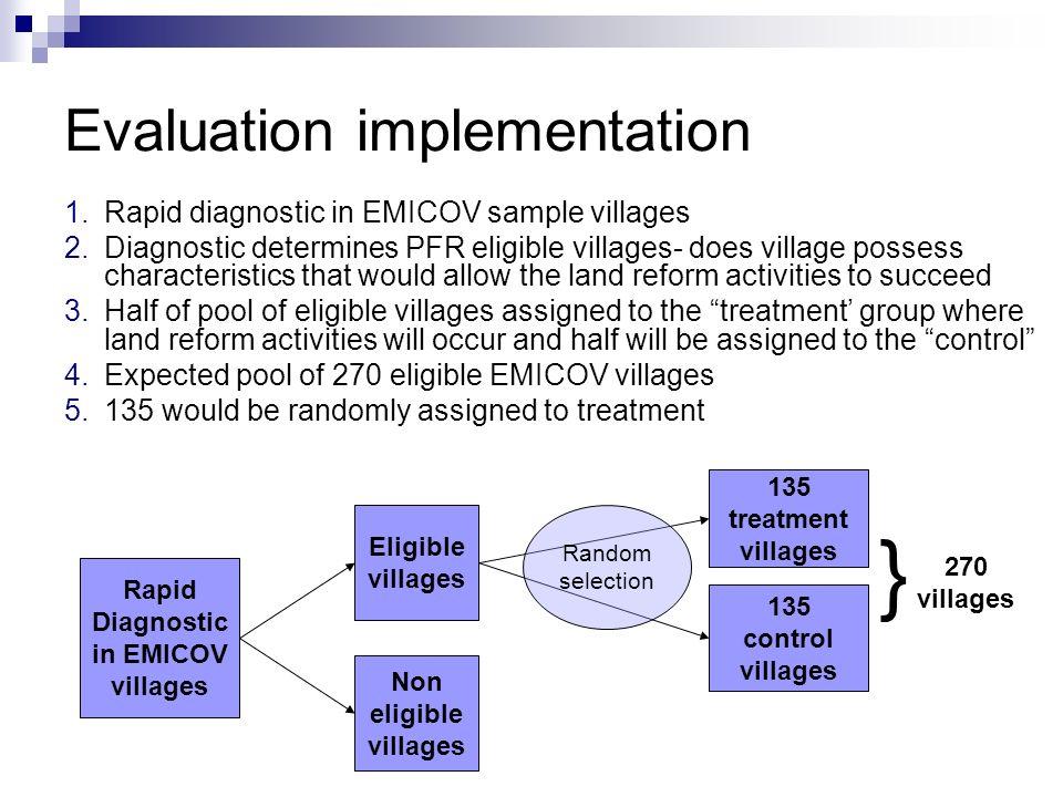 Evaluation implementation 1.Rapid diagnostic in EMICOV sample villages 2.Diagnostic determines PFR eligible villages- does village possess characteris
