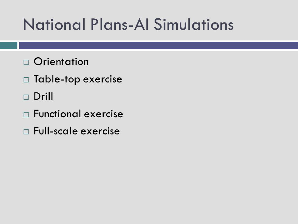 National Plans-AI Simulations Orientation Table-top exercise Drill Functional exercise Full-scale exercise