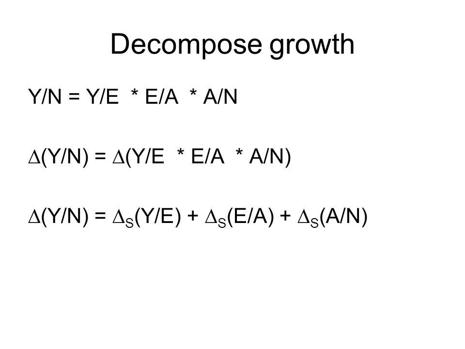 Decompose growth Y/N = Y/E * E/A * A/N (Y/N) = (Y/E * E/A * A/N) (Y/N) = S (Y/E) + S (E/A) + S (A/N)