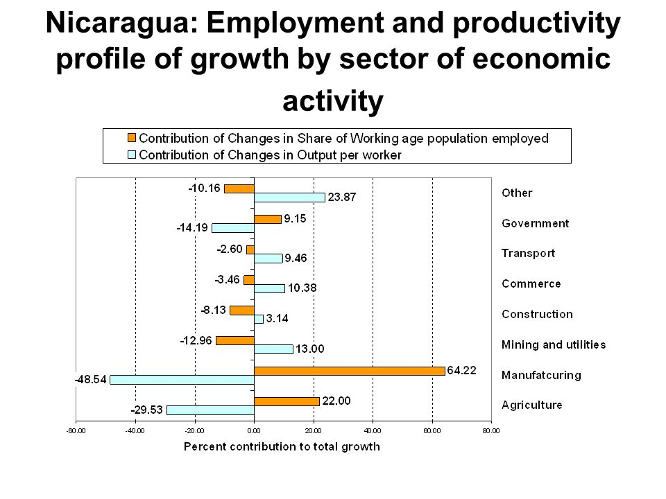 Nicaragua: Employment and productivity profile of growth by sector of economic activity