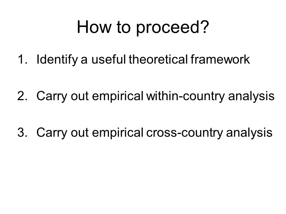 How to proceed? 1.Identify a useful theoretical framework 2.Carry out empirical within-country analysis 3.Carry out empirical cross-country analysis