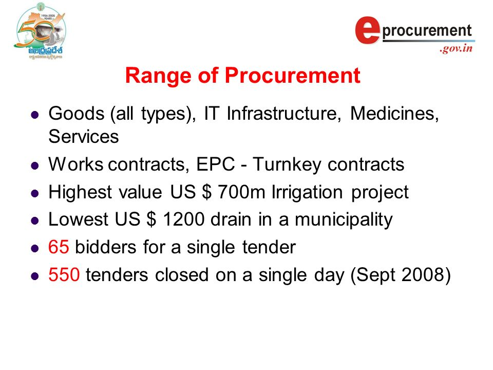 Range of Procurement Goods (all types), IT Infrastructure, Medicines, Services Works contracts, EPC - Turnkey contracts Highest value US $ 700m Irrigation project Lowest US $ 1200 drain in a municipality 65 bidders for a single tender 550 tenders closed on a single day (Sept 2008)