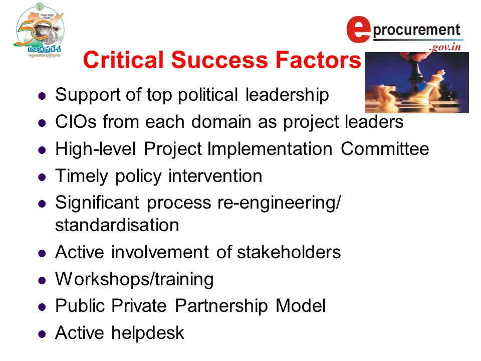 Critical Success Factors Support of top political leadership CIOs from each domain as project leaders High-level Project Implementation Committee Timely policy intervention Significant process re-engineering/ standardisation Active involvement of stakeholders Workshops/training Public Private Partnership Model Active helpdesk