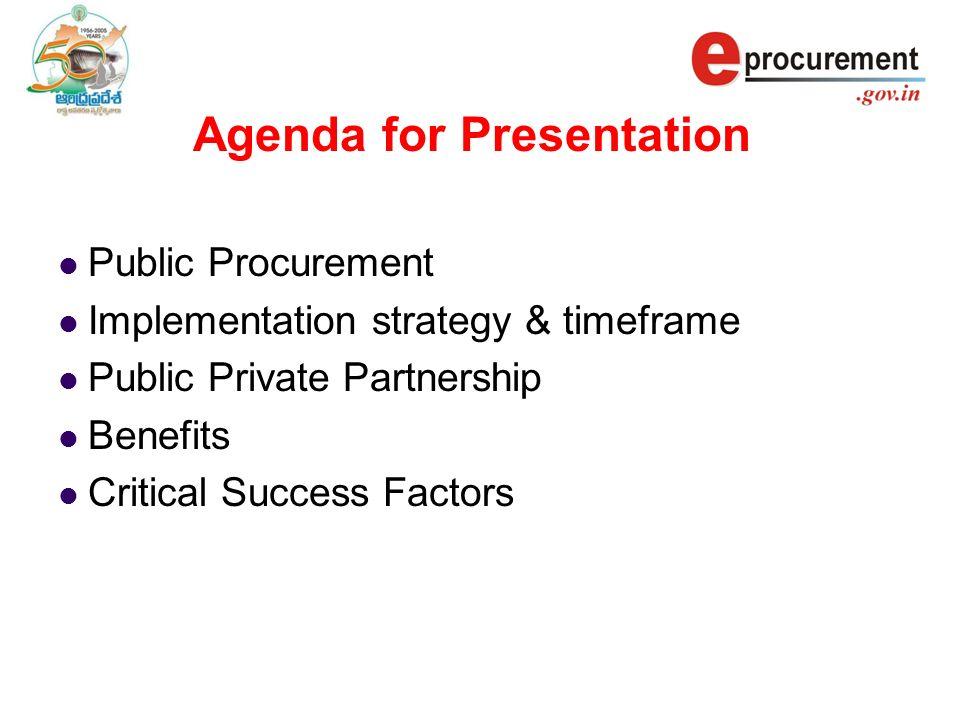 Agenda for Presentation Public Procurement Implementation strategy & timeframe Public Private Partnership Benefits Critical Success Factors