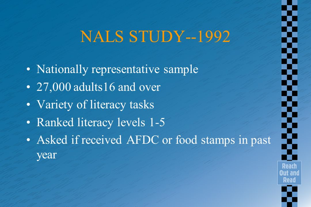 NALS STUDY--1992 Nationally representative sample 27,000 adults16 and over Variety of literacy tasks Ranked literacy levels 1-5 Asked if received AFDC