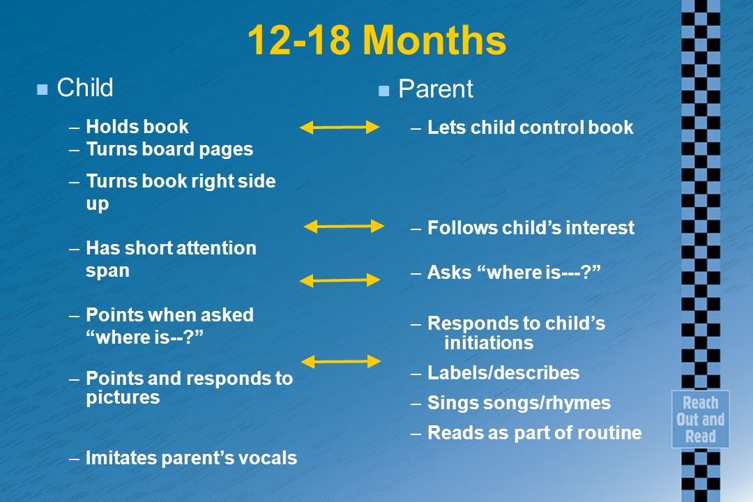 12-18 Months n Child –Holds book –Turns board pages –Turns book right side up –Has short attention span –Points when asked where is--.