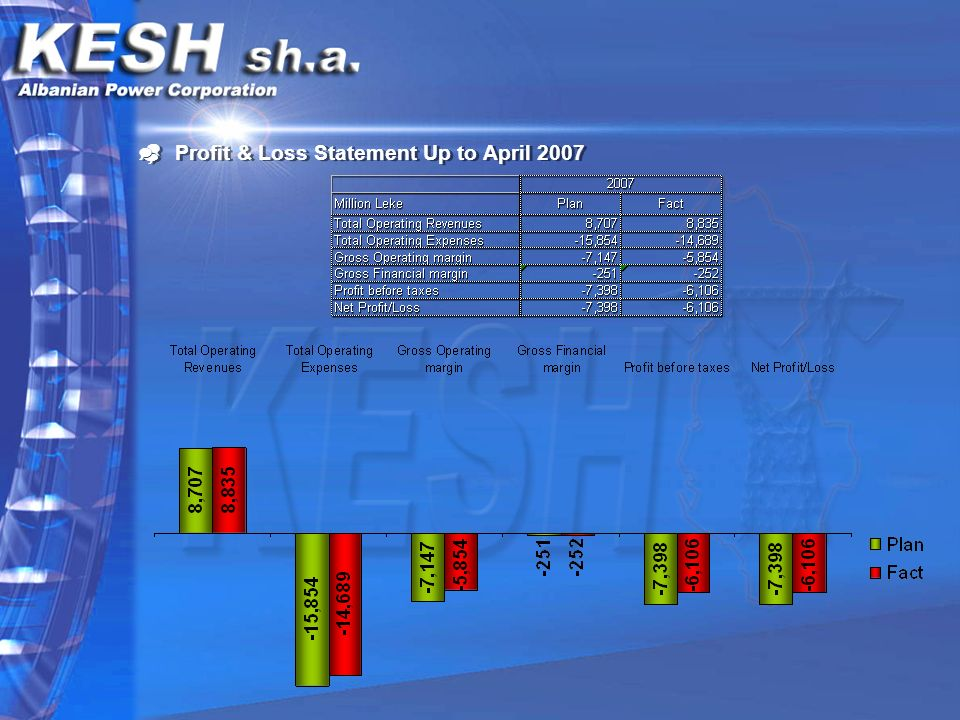 Profit & Loss Statement Up to April 2007