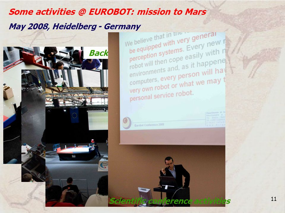 11 Some activities @ EUROBOT: mission to Mars May 2008, Heidelberg - Germany Back stage activities Games activities Scientific conference activities